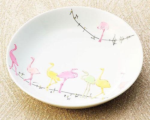 九谷焼 皿 6.5号盛皿 フラミンゴ 武腰美恵子