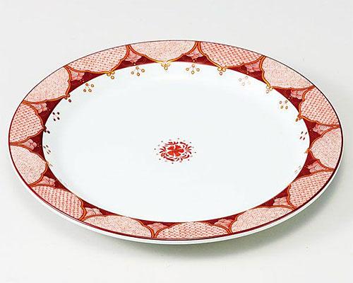九谷焼 皿 8.5号盛皿 赤絵小紋