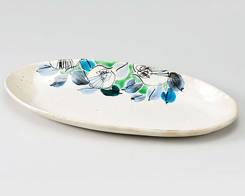 九谷焼 皿 12号楕円盛皿 色絵古染椿 虚空蔵窯