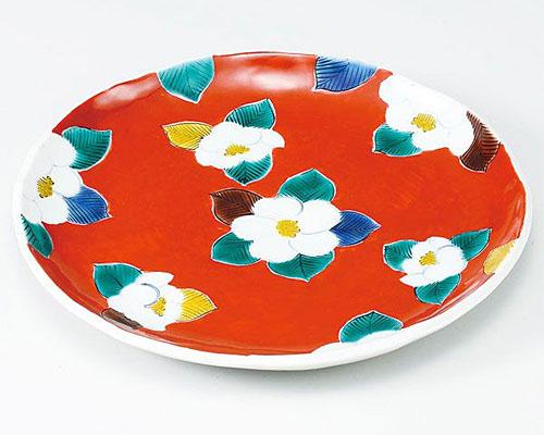 九谷焼 皿 9号盛皿 赤地椿