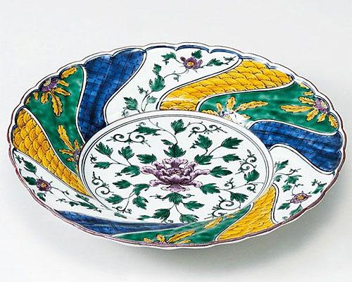 九谷焼 皿 8.5号盛皿 色絵牡丹の図 三浦銀泉