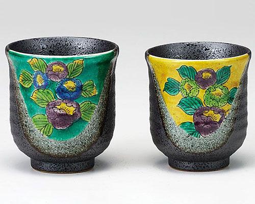 九谷焼 組湯呑 山茶花