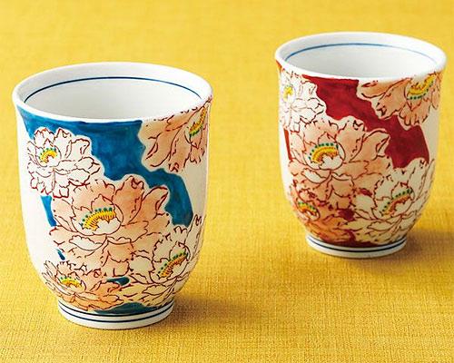 九谷焼 組湯呑 牡丹