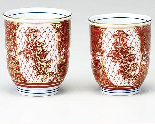 九谷焼 組湯呑 赤網菊