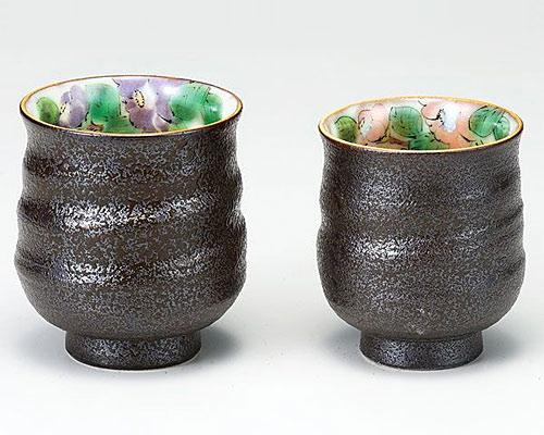 九谷焼 組湯呑 色絵椿 青良窯