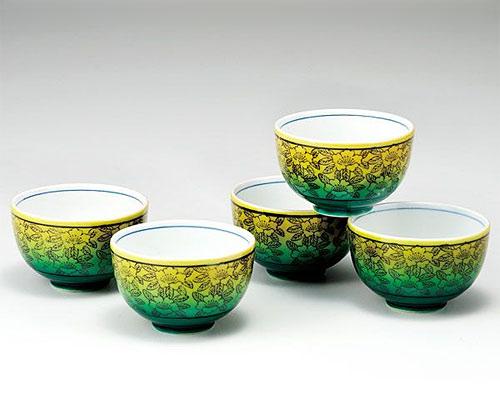 九谷焼 汲出揃 茶器セット 釉彩山茶花