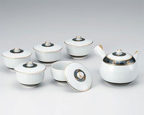 九谷焼 茶器揃 蓋付 白七宝