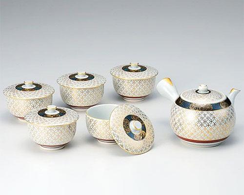 九谷焼 茶器揃 蓋付 金七宝