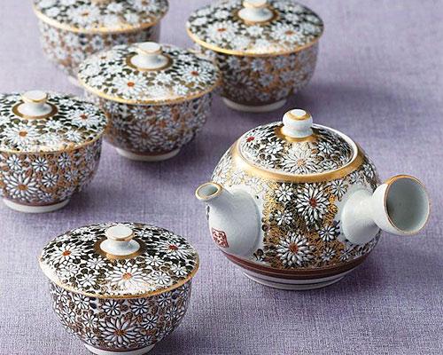 九谷焼 茶器揃 蓋付 白菊