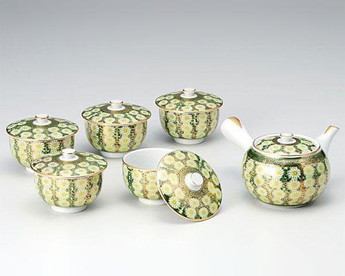 九谷焼 茶器揃 蓋付 菊詰