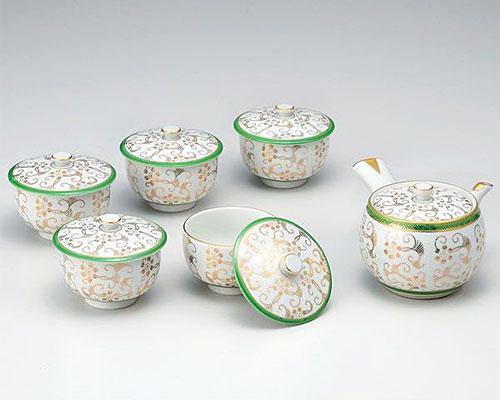 九谷焼 茶器揃 蓋付 白粒鉄仙