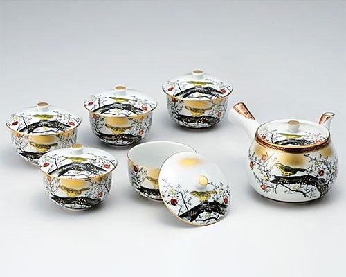 九谷焼 茶器揃 蓋付 本金梅にうぐいす