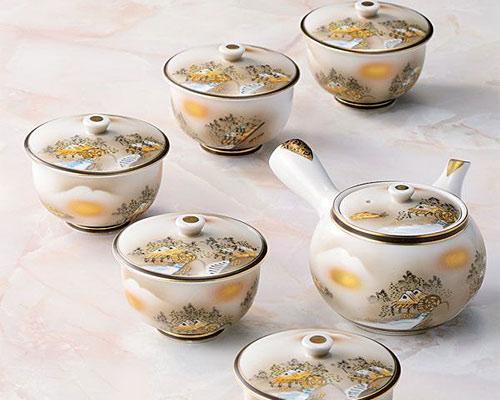 九谷焼 茶器揃 蓋付 墨山水