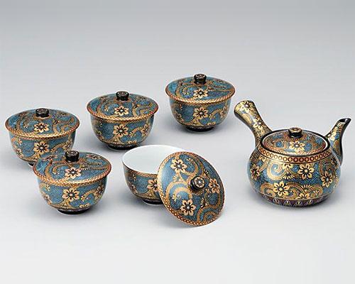 九谷焼 茶器揃 蓋付 青粒金唐草