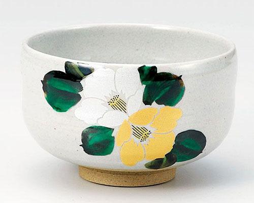 九谷焼 抹茶碗 金銀椿