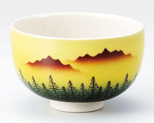 九谷焼 抹茶碗 木立連山