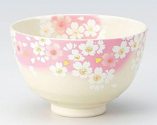 九谷焼 抹茶碗 金箔花の舞