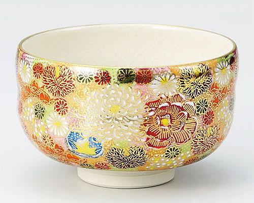 九谷焼 抹茶碗 花詰