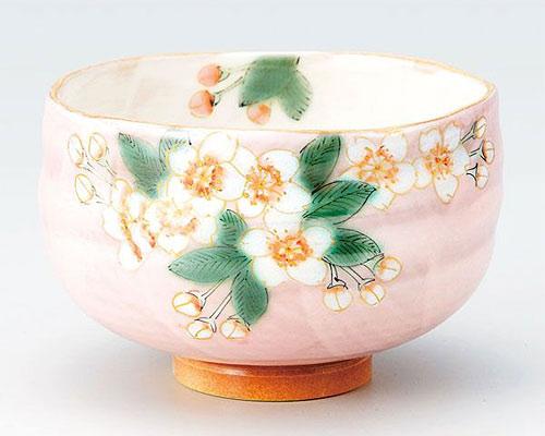 九谷焼 抹茶碗 桜 青良窯