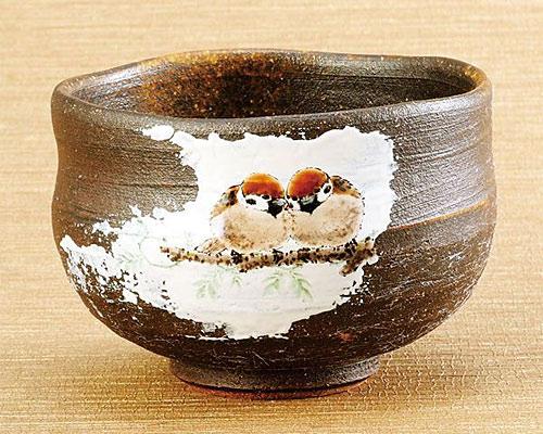 九谷焼 抹茶碗 焼〆二雀図 中村陶志人