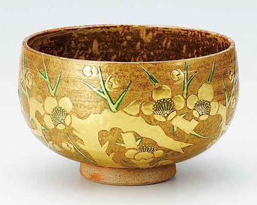 九谷焼 抹茶碗 本金老梅