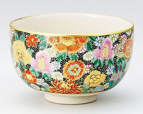 九谷焼 抹茶碗 本金花詰 大雅