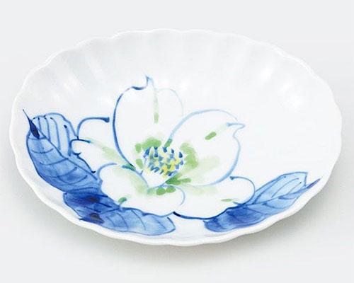 九谷焼 皿 4号小皿 白椿