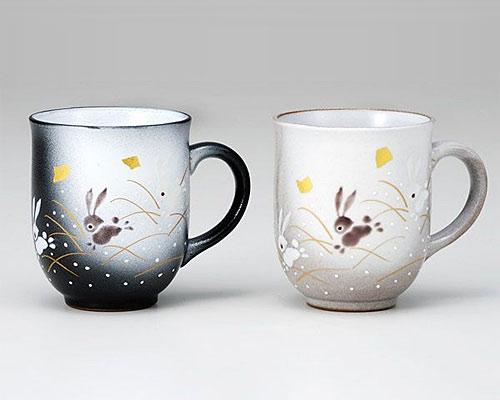 九谷焼 ペアマグカップ はねうさぎ