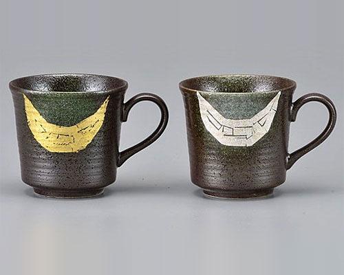 九谷焼 ペアマグカップ 金銀彩