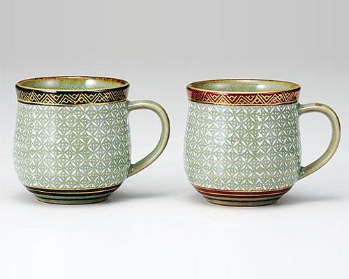 九谷焼 ペアマグカップ 白七宝