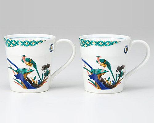 九谷焼 ペアマグカップ 小紋古九谷花鳥