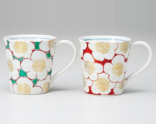 九谷焼 ペアマグカップ 紅白梅