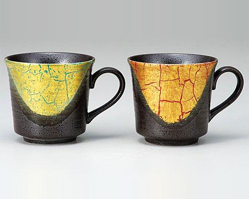 九谷焼 ペアマグカップ 金箔彩