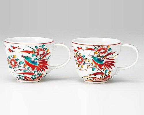 九谷焼 ペアマグカップ 赤呉須