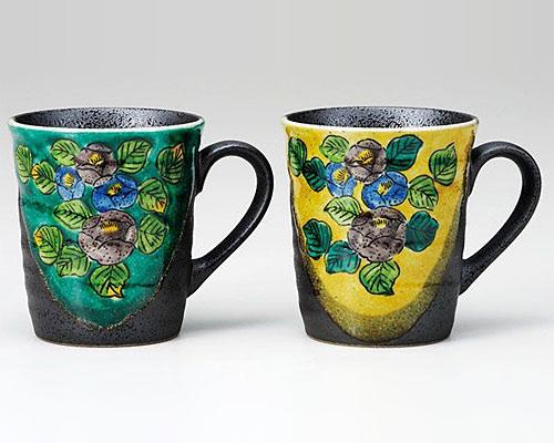 九谷焼 ペアマグカップ 椿紋