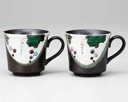 九谷焼 ペアマグカップ ぶどう