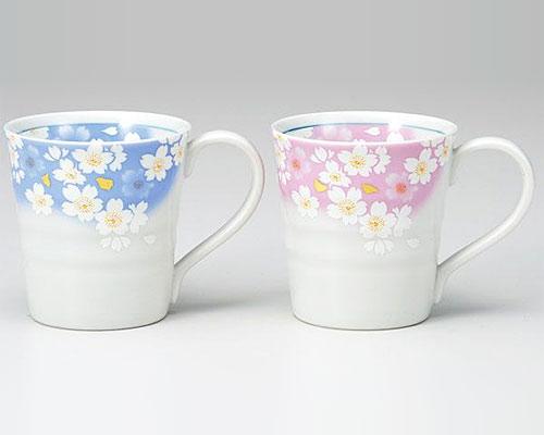 九谷焼 ペアマグカップ 金箔花の舞