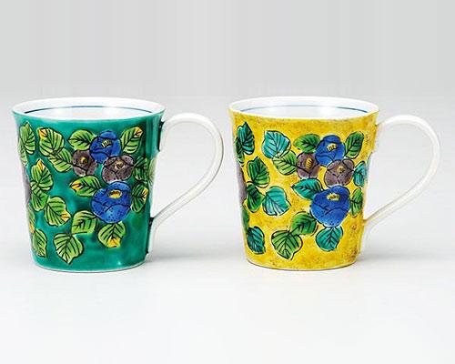 九谷焼 ペアマグカップ 山茶花