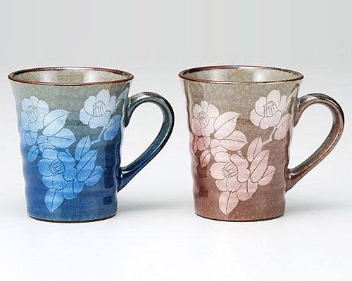 九谷焼 ペアマグカップ 銀彩山茶花