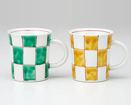 九谷焼 ペアマグカップ チューリップ 市松