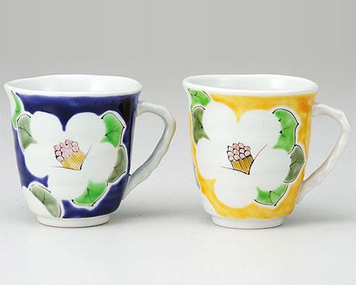 九谷焼 ペアマグカップ 色椿 色絵九谷遊