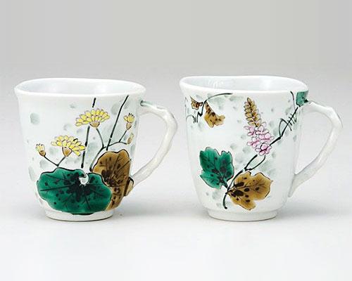 九谷焼 ペアマグカップ 藤と石蕗