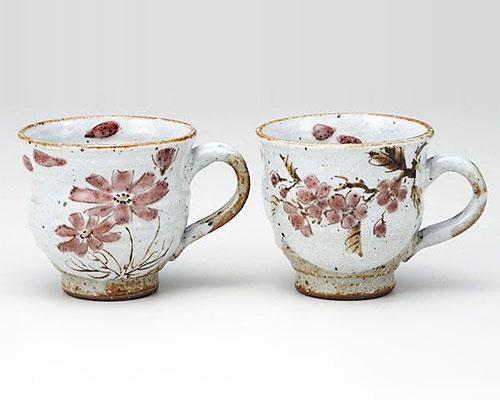 九谷焼 ペアマグカップ 桜とコスモス 佐藤剛