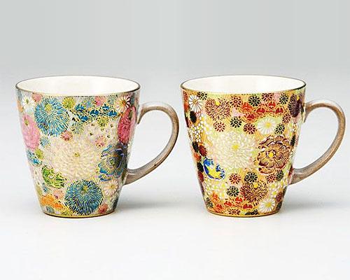 九谷焼 ペアマグカップ 花詰