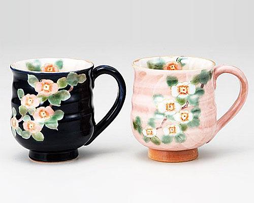 九谷焼 ペアマグカップ ハナミズキ 青良窯