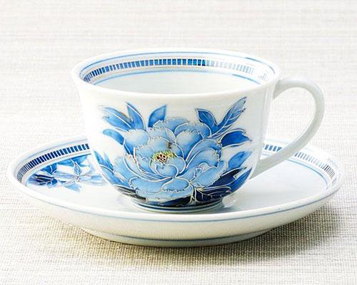 九谷焼 カップ&ソーサー 牡丹 宮吉ゆみこ