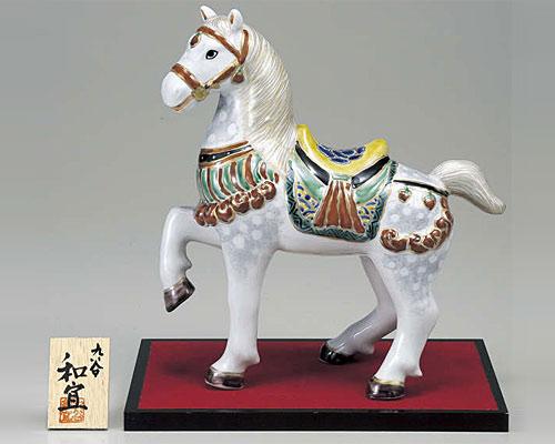 九谷焼 甲午 縁起干支10号 午 「神馬」 錦付 和宜 作