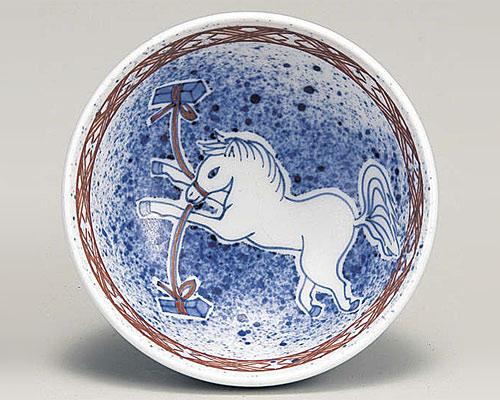 九谷焼 甲午 縁起干支 盃 「吹墨繋馬」午 上出長右衛門窯 作