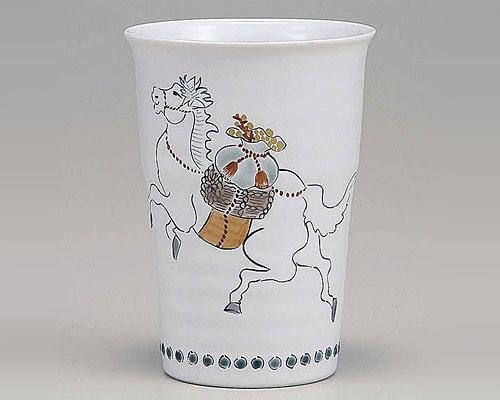 九谷焼 甲午 縁起干支 フリーカップ 「白馬」 午 福田良則 作
