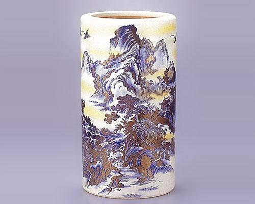 九谷焼 傘立 銀吹山水